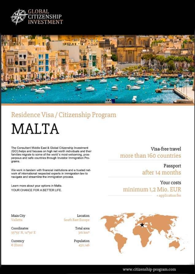 Malta Citizenship Program Brochure